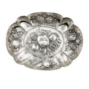 Judaica, German Silver (800) embossed Passover Dish