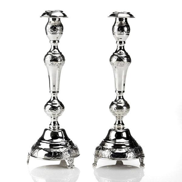Judaica pair of Sterling Silver Shabbat candlesticks