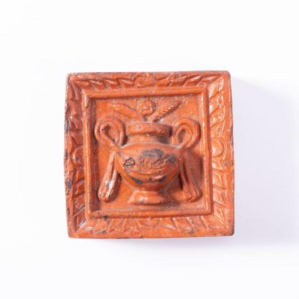 Moulded Pilgrim Flask terracotta tile