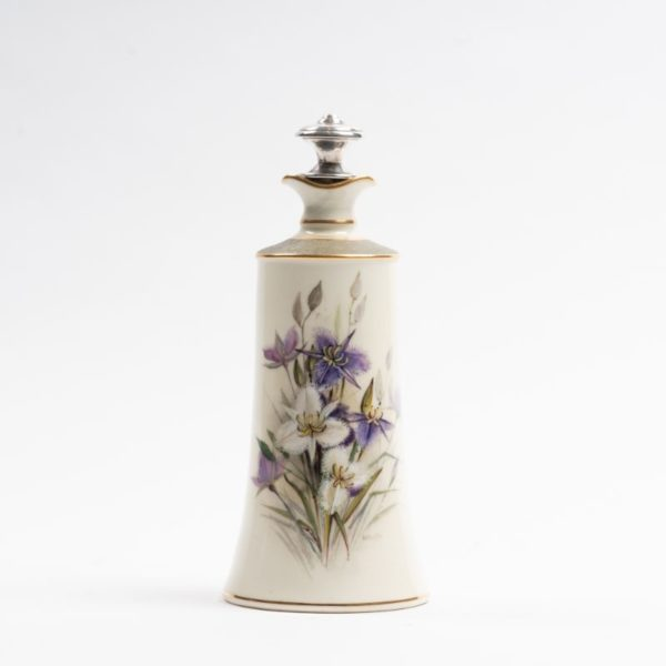 Ellis Rowan inspired, very rare Royal Worcester hand painted and signed Australian floral decorated flask