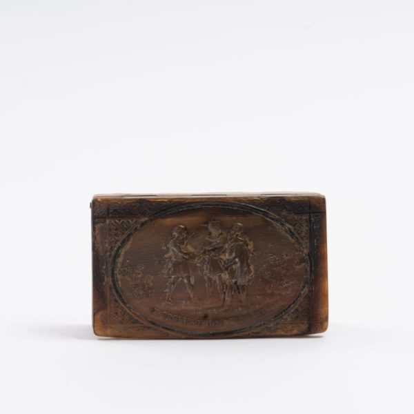 Horn press moulded Snuff Box with relief c.1800