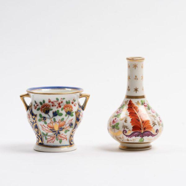 Derby Japan pattern miniature Vase and Bowl circa 1820