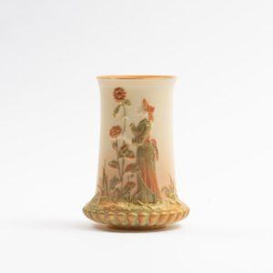 Royal Worcester Spill Vase, Kate Greenway figure. Date 1906