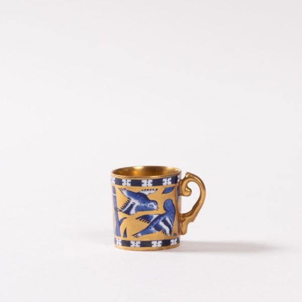 Miniature Coalport Mug with rich gilt and blue swallow and bamboo decoration, gilt inside