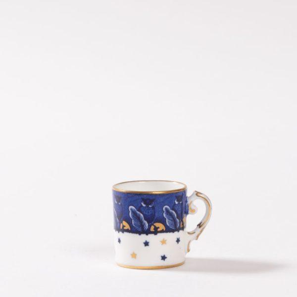 Miniature Coalport mug with owl. Date 1900