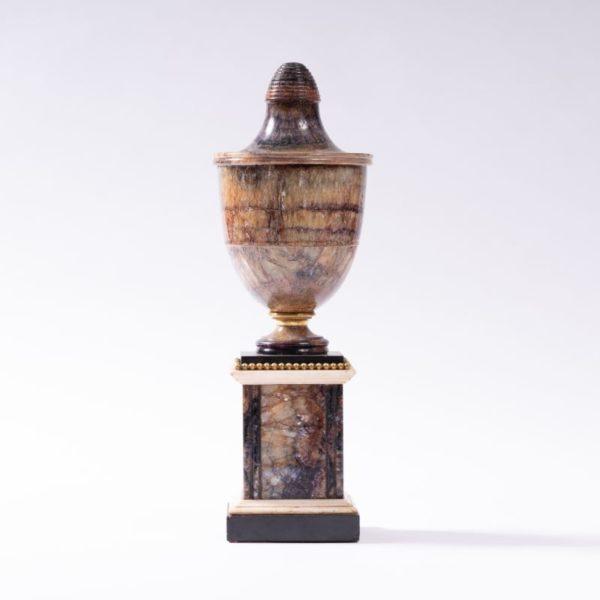 Blue John Fluorspar (only found in Derbyshire) shield shape vase on pedestal C.1790