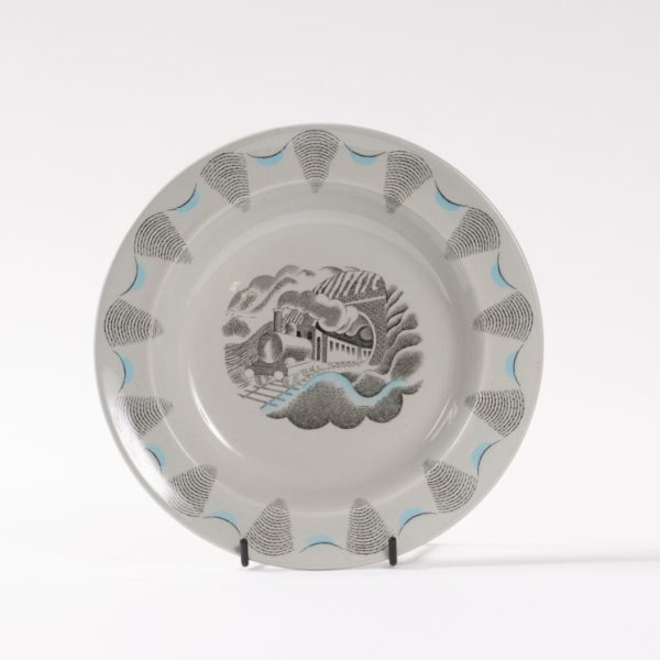 Wedgwood travel scene plate with train, designed by Eric Ravilious 1954