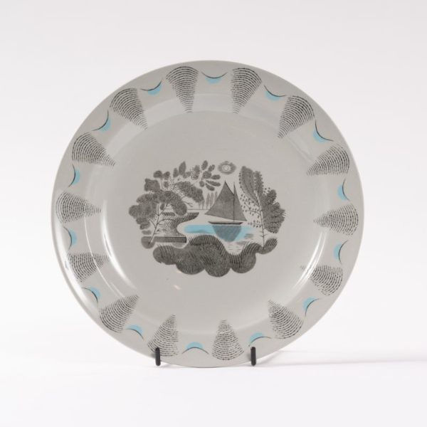 Wedgwood travel pattern plate with yacht, designed by Ravilious