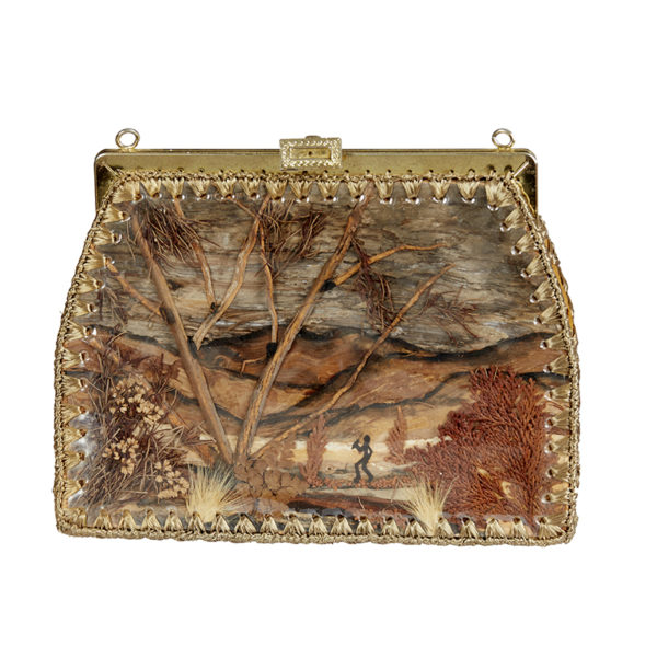 Hand painted bark handbag c 1930