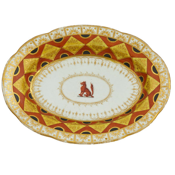 Chamberlain Worcester Crested Oval Dish, circa 1830