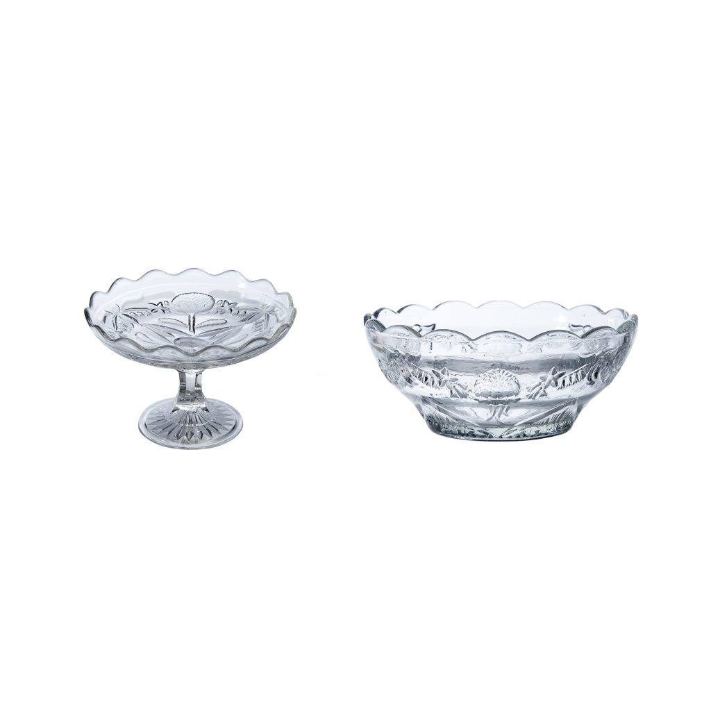 Crown glass moulded comport and bowl with Waratah and Fuchsia design