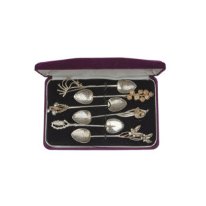 australian sterling silver teaspoons with cast wildflower finials, c.1950