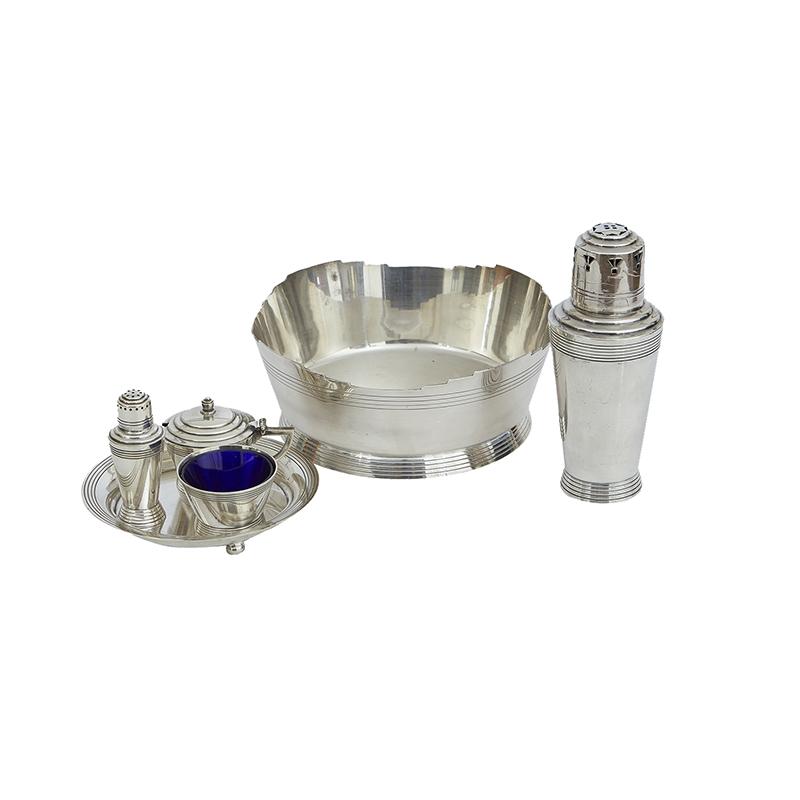 Keith Murray design EPNS cruet set, ice bowl, sugar set. 1930