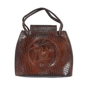 Leather embossed handbag, blue wren, gumleaves. c1930