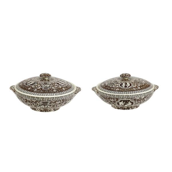 Spode covered round vegetable dishes, Greek design, c1900