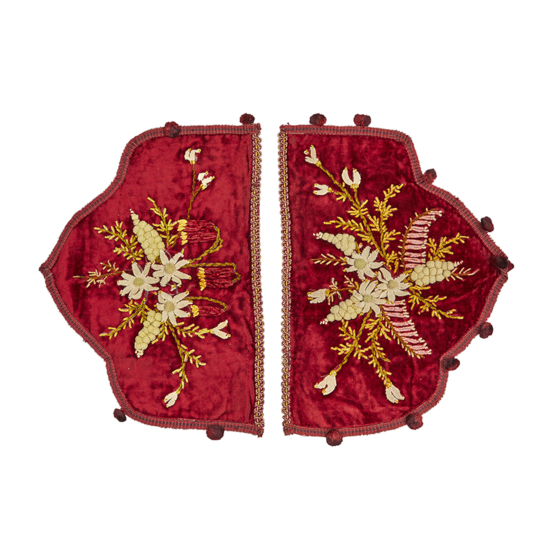 Australian hand-embroidered velvet with wattle and wildflower designs, c.1900