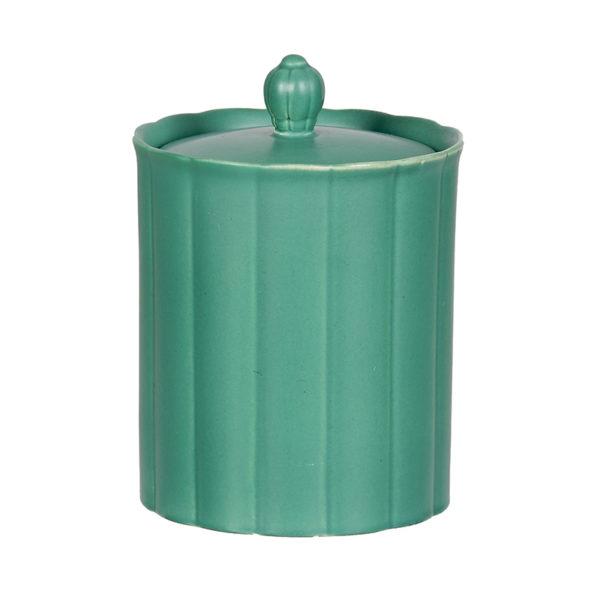 Keith Murray design, covered jar, matt green, c 1932