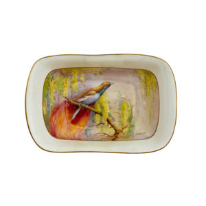 Royal Worcester dish with hand-painted bird of Paradise, signed R Austin